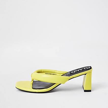 Yellow block heel sandals