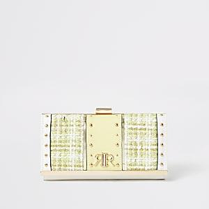 Gele portemonnee met druksluiting en bouclé vlakken