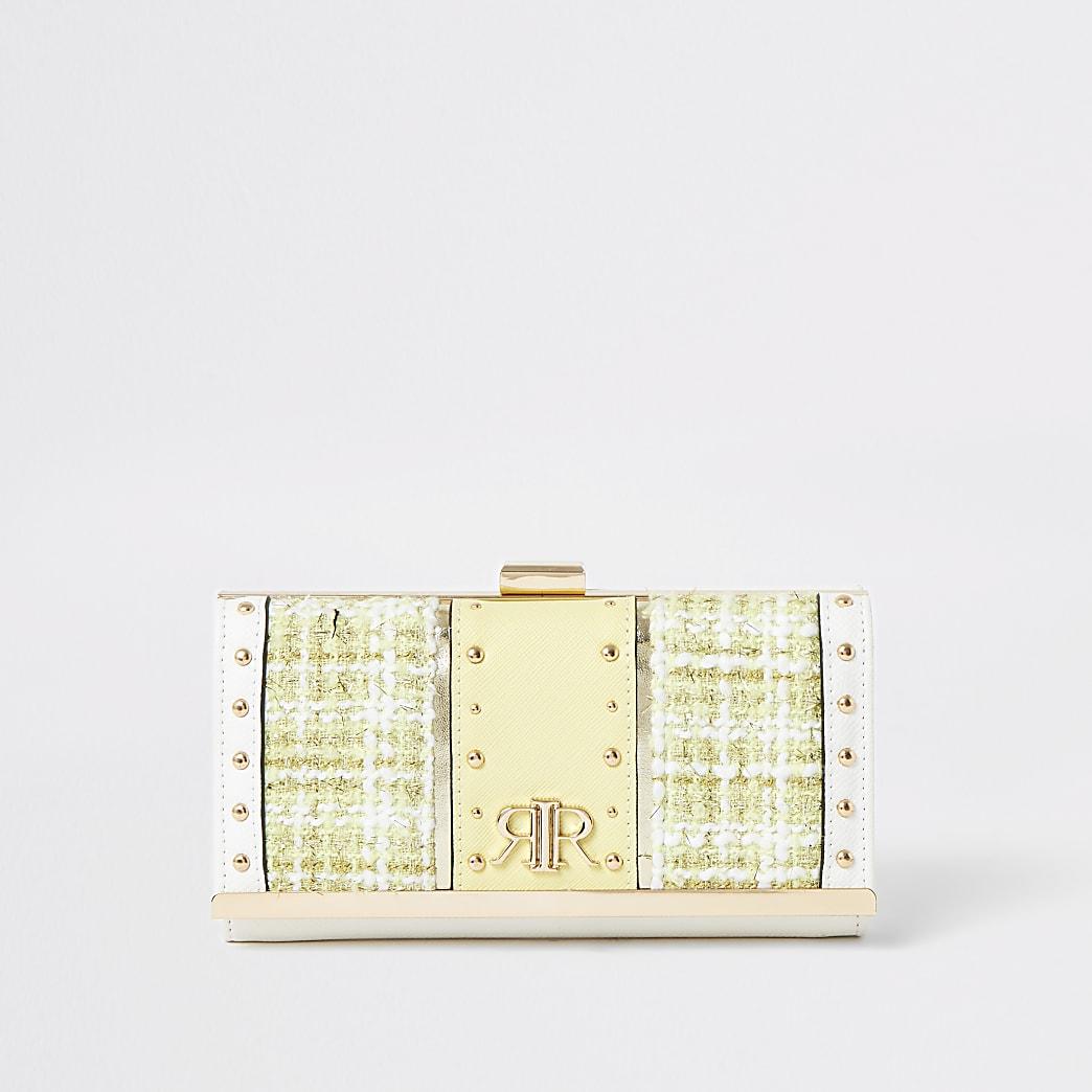 Portefeuille avec fermoir clip en maille bouclette jaune