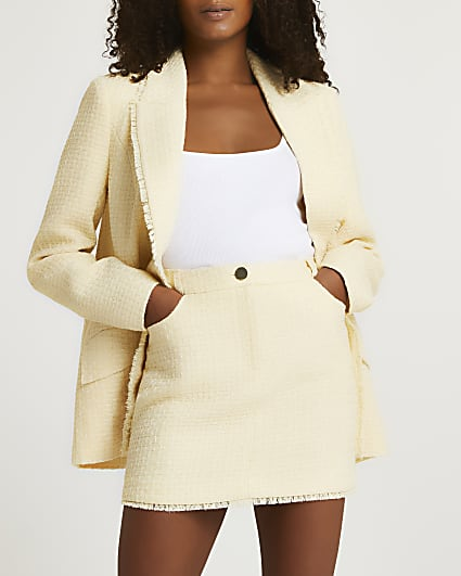 Yellow boucle mini skirt