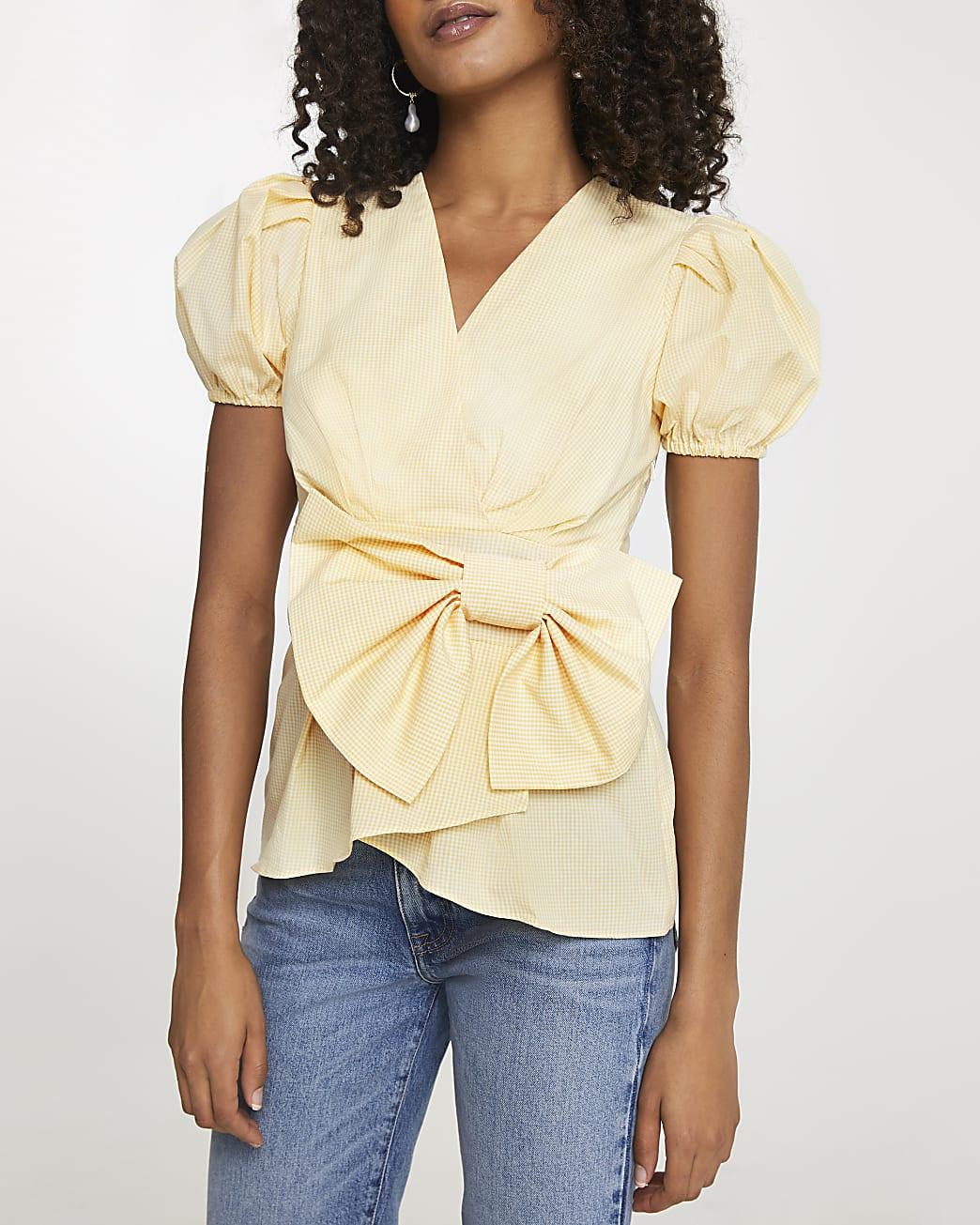Yellow bow puff sleeve peplum top