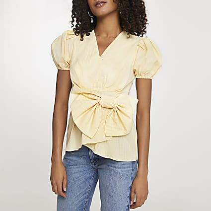 Yellow bow puff sleeve peplum top