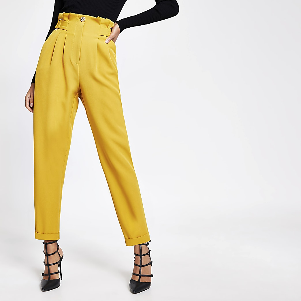 Yellow buckle waist peg trousers