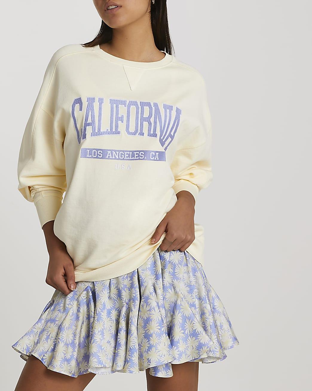 Yellow California print oversized sweatshirt