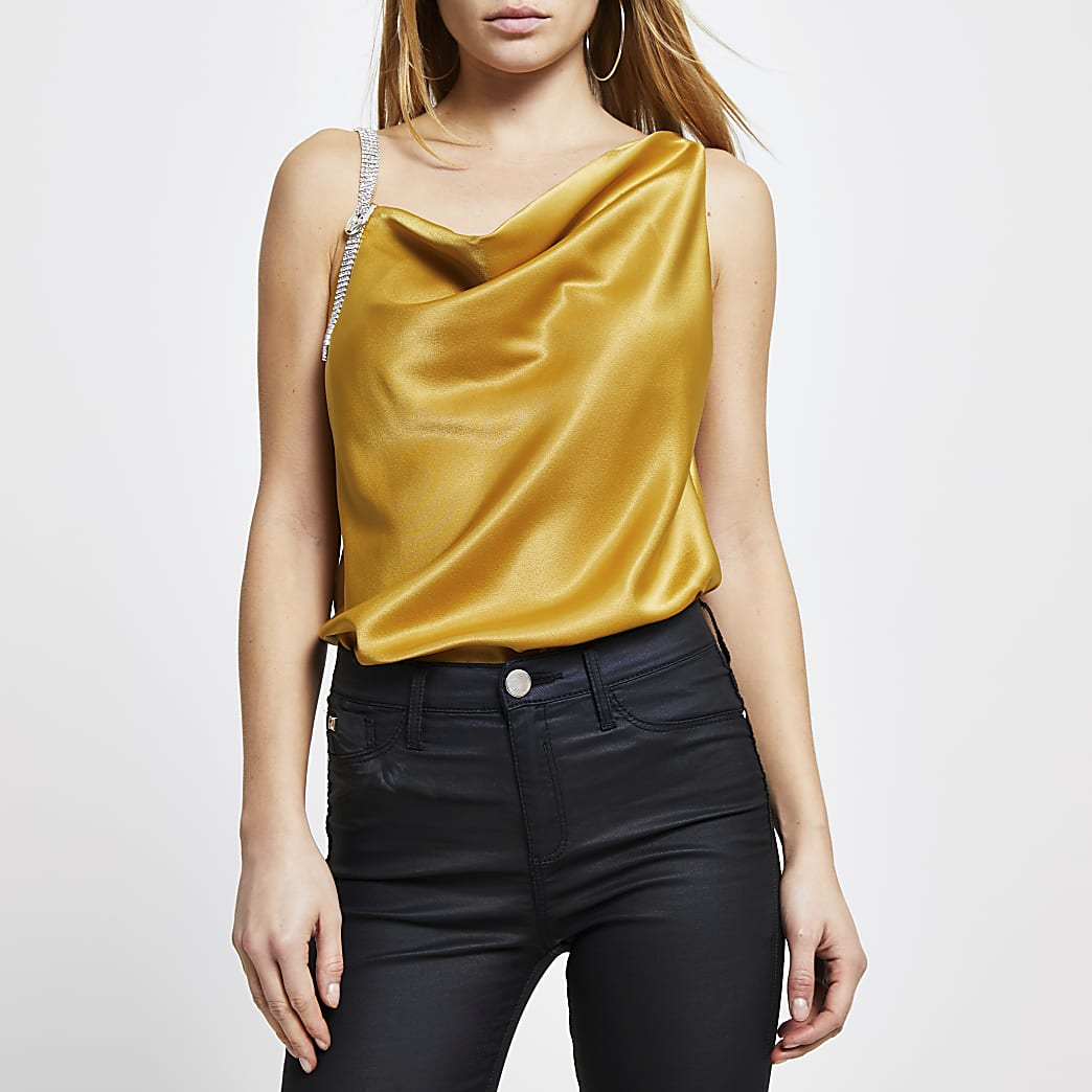 Yellow cami with bling strap