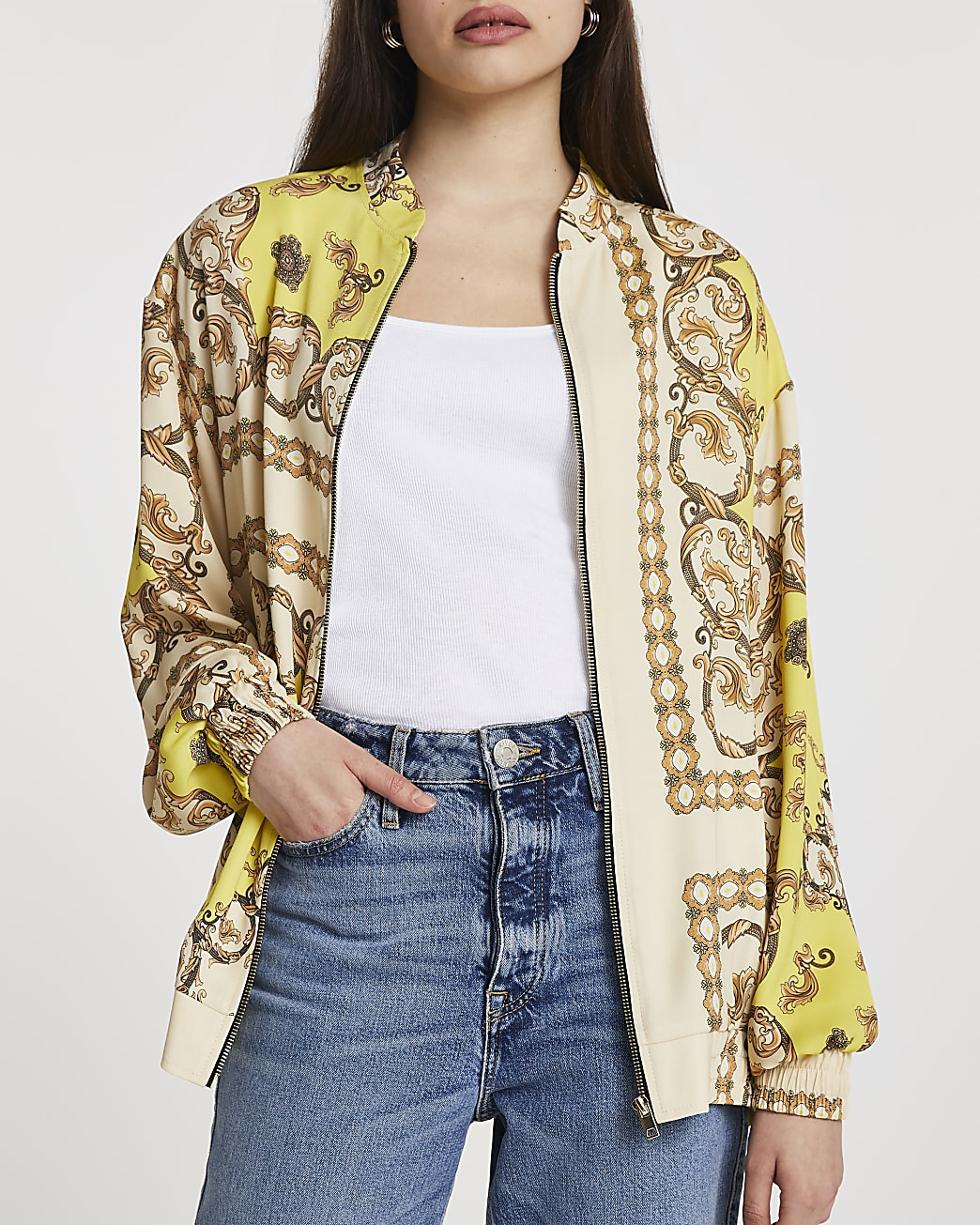 Yellow chain print oversized bomber jacket