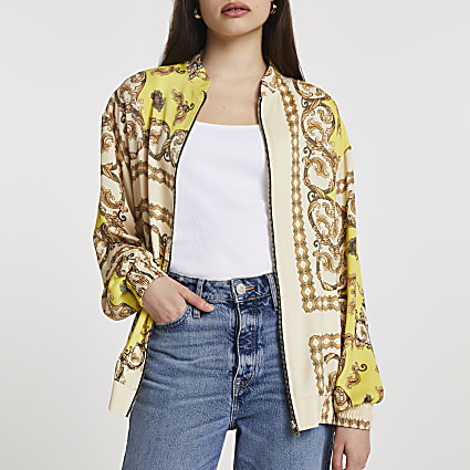 Yellow chain print oversized bomber jacket