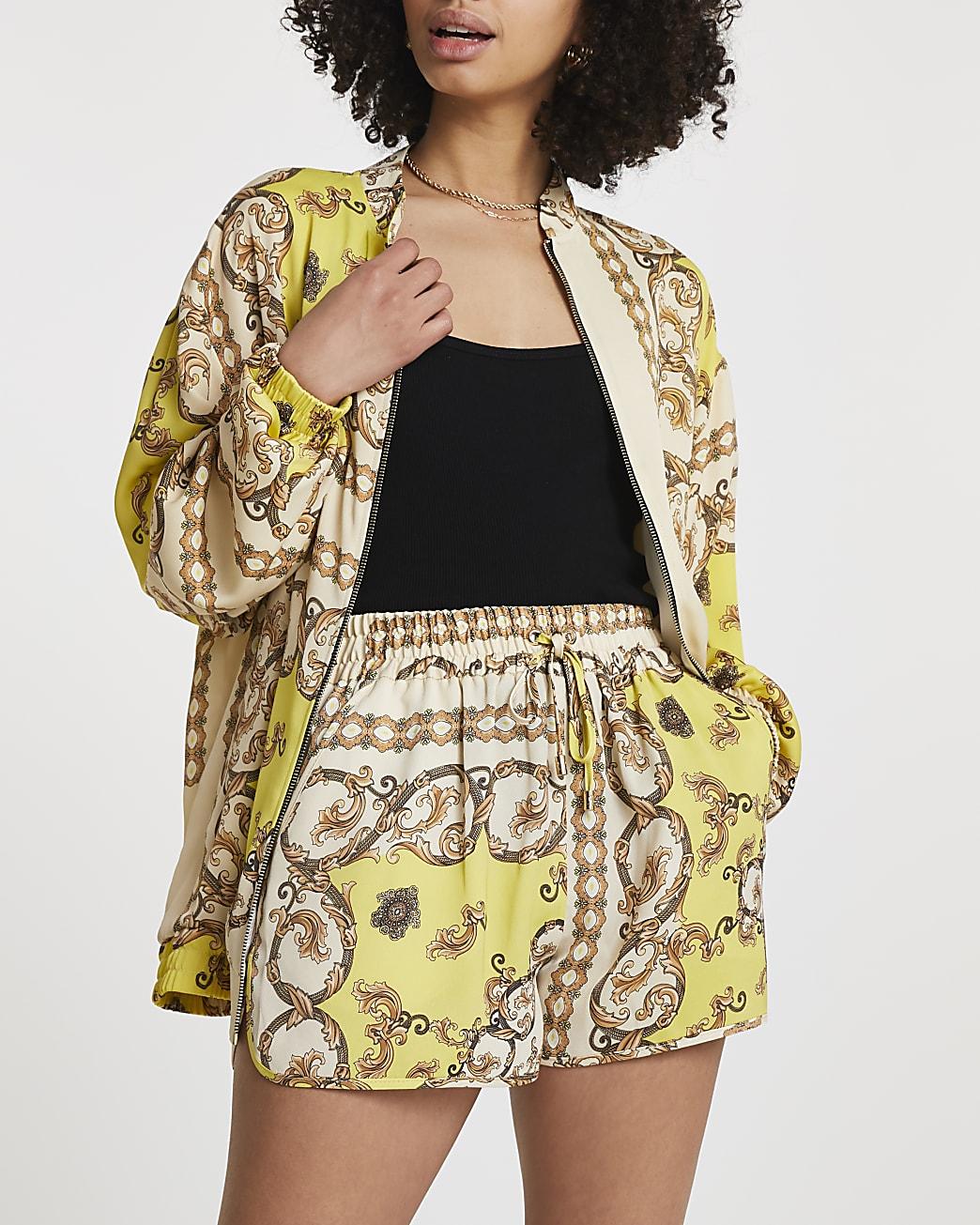 Yellow chain print shorts