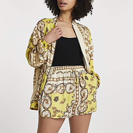 Yellow chain print shorts