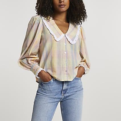 Yellow check collar blouse