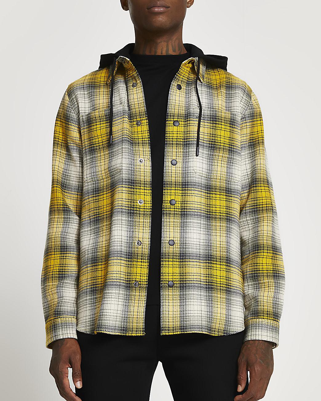 Yellow check detachable hood shacket