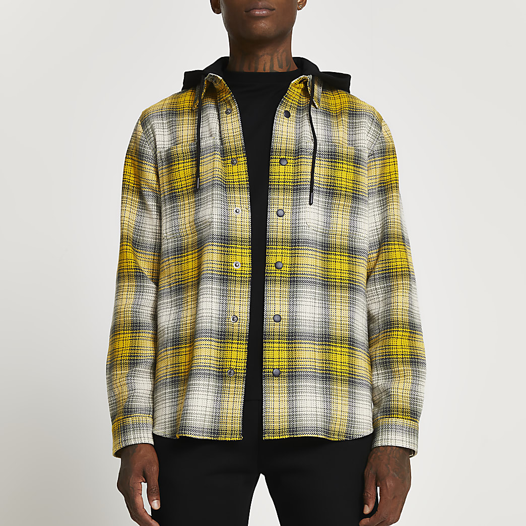 Yellow check detachable hood shacket
