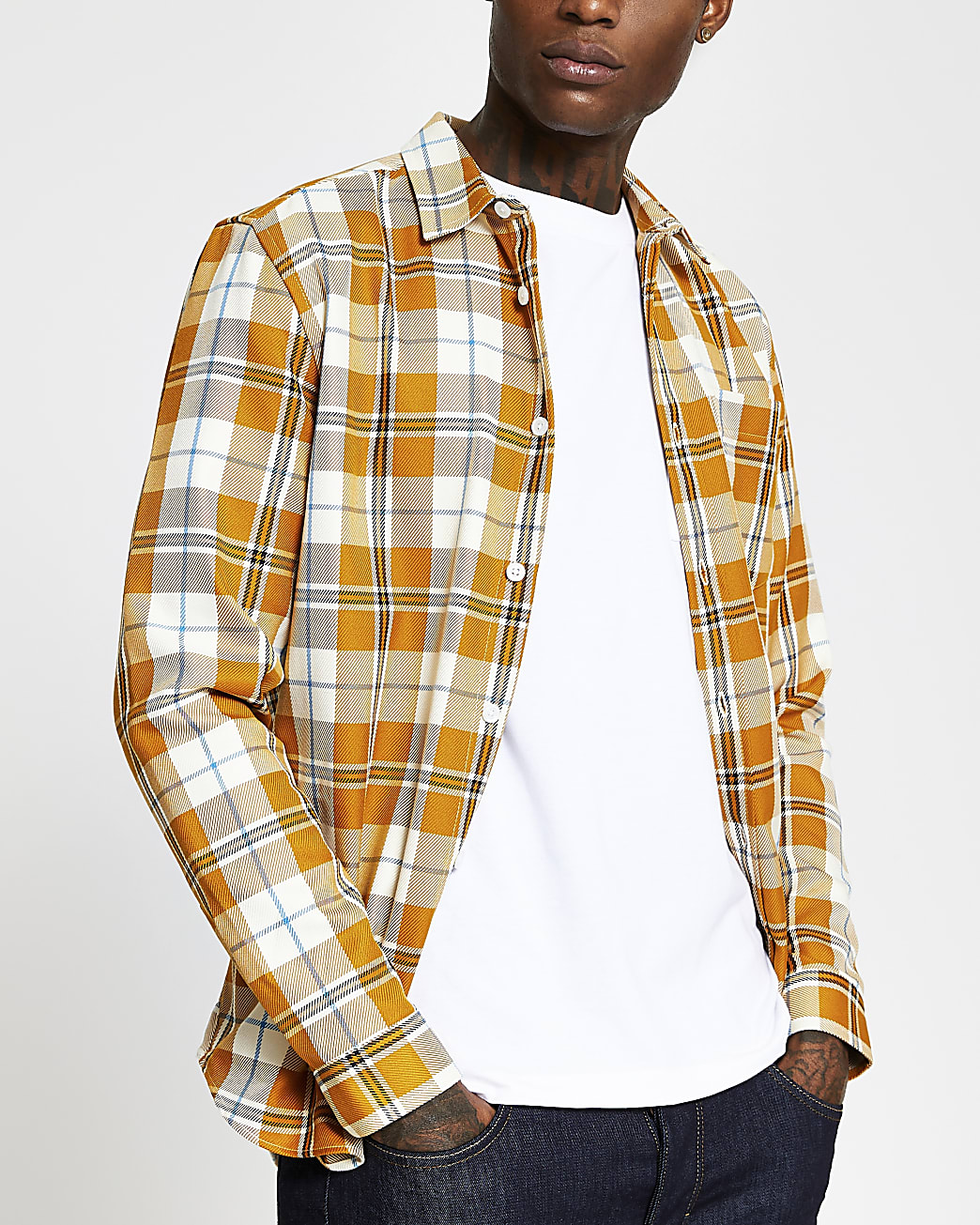 Yellow check regular fit long sleeve shirt