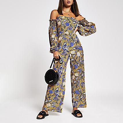 Yellow cold shoulder chain print jumpsuit