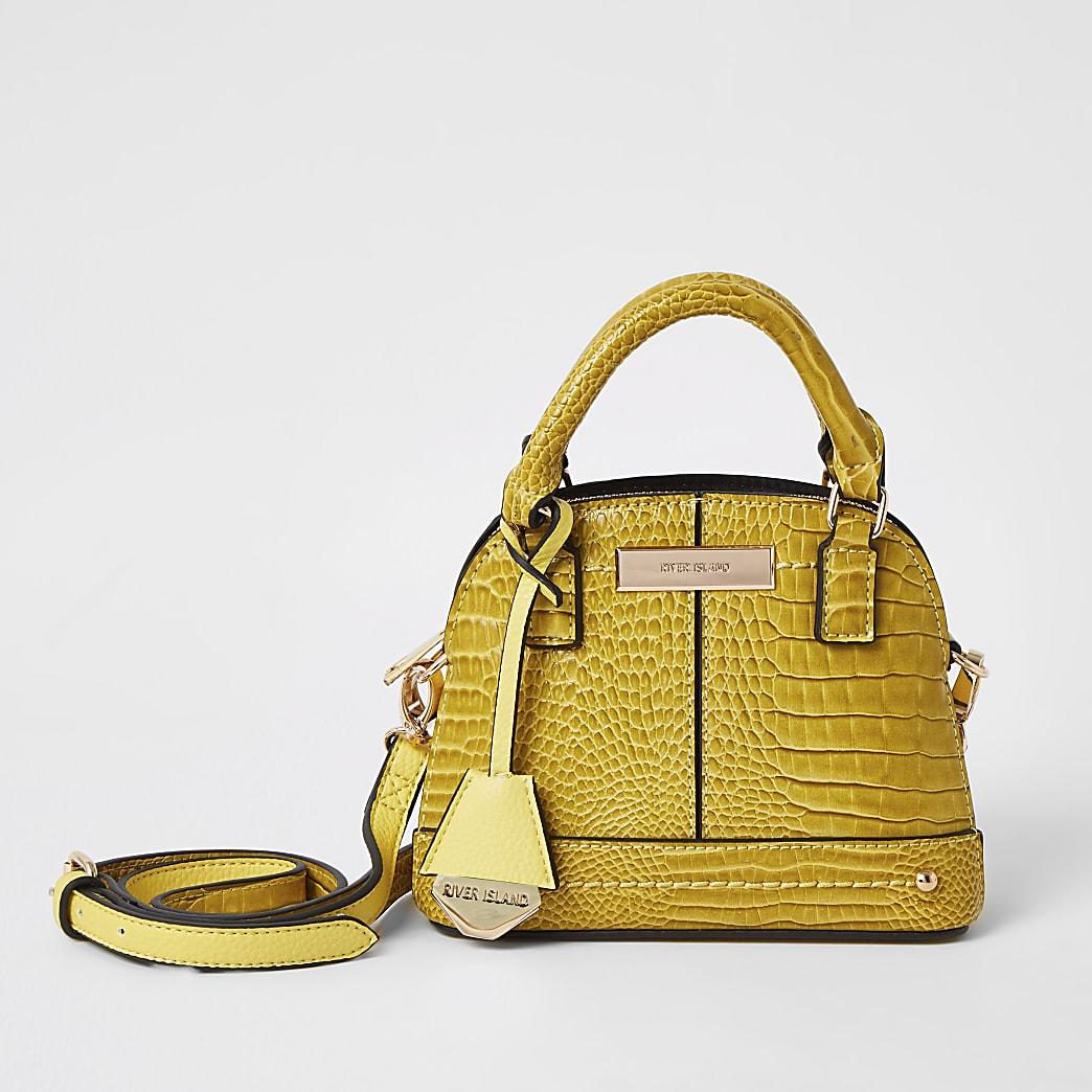 Yellow croc embossed cross body kettle bag