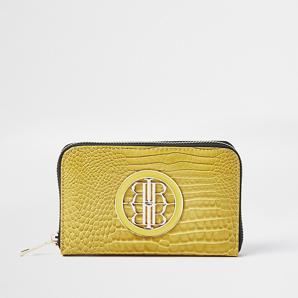 Yellow croc RI enamel zip around mini purse