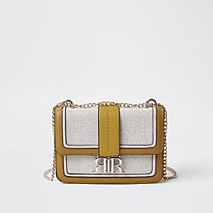 Yellow cross body satchel bag