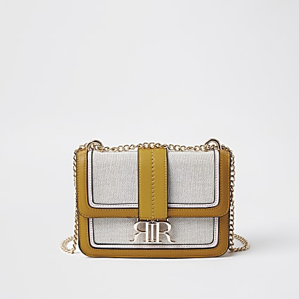 Yellow cross body satchel bag