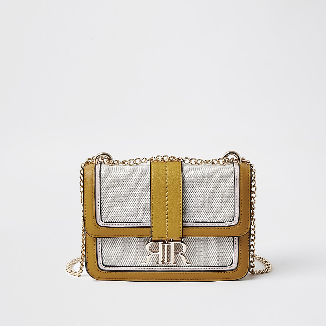 Yellow cross body satchel handbag