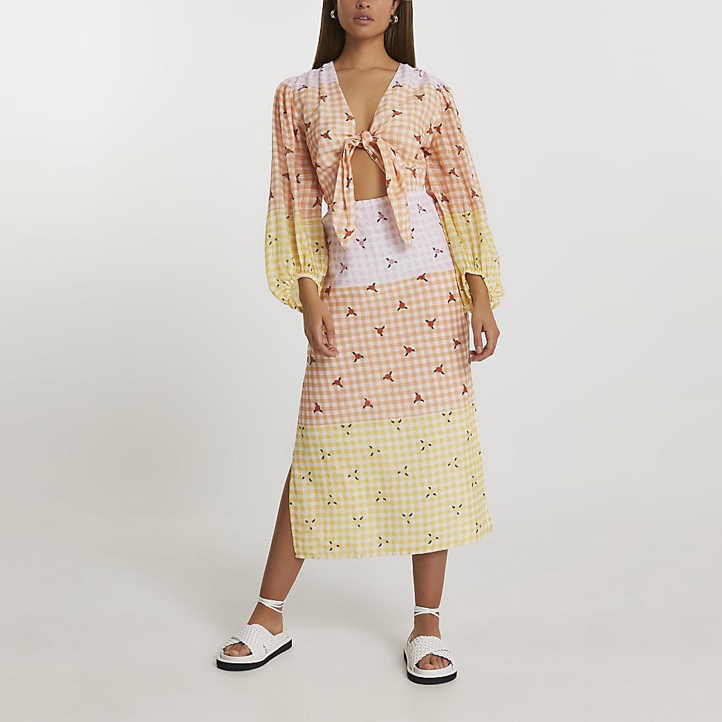 Yellow cut out gingham midi dress