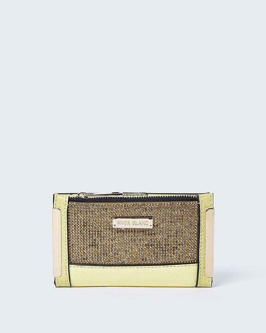 Yellow diamante mini foldout purse
