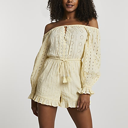 Yellow embellished broderie playsuit