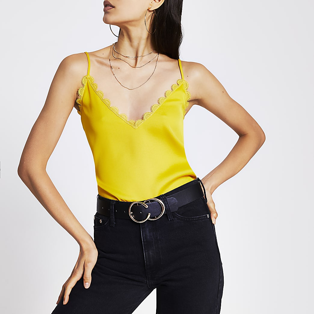 Yellow embroidered scallop trim cami top