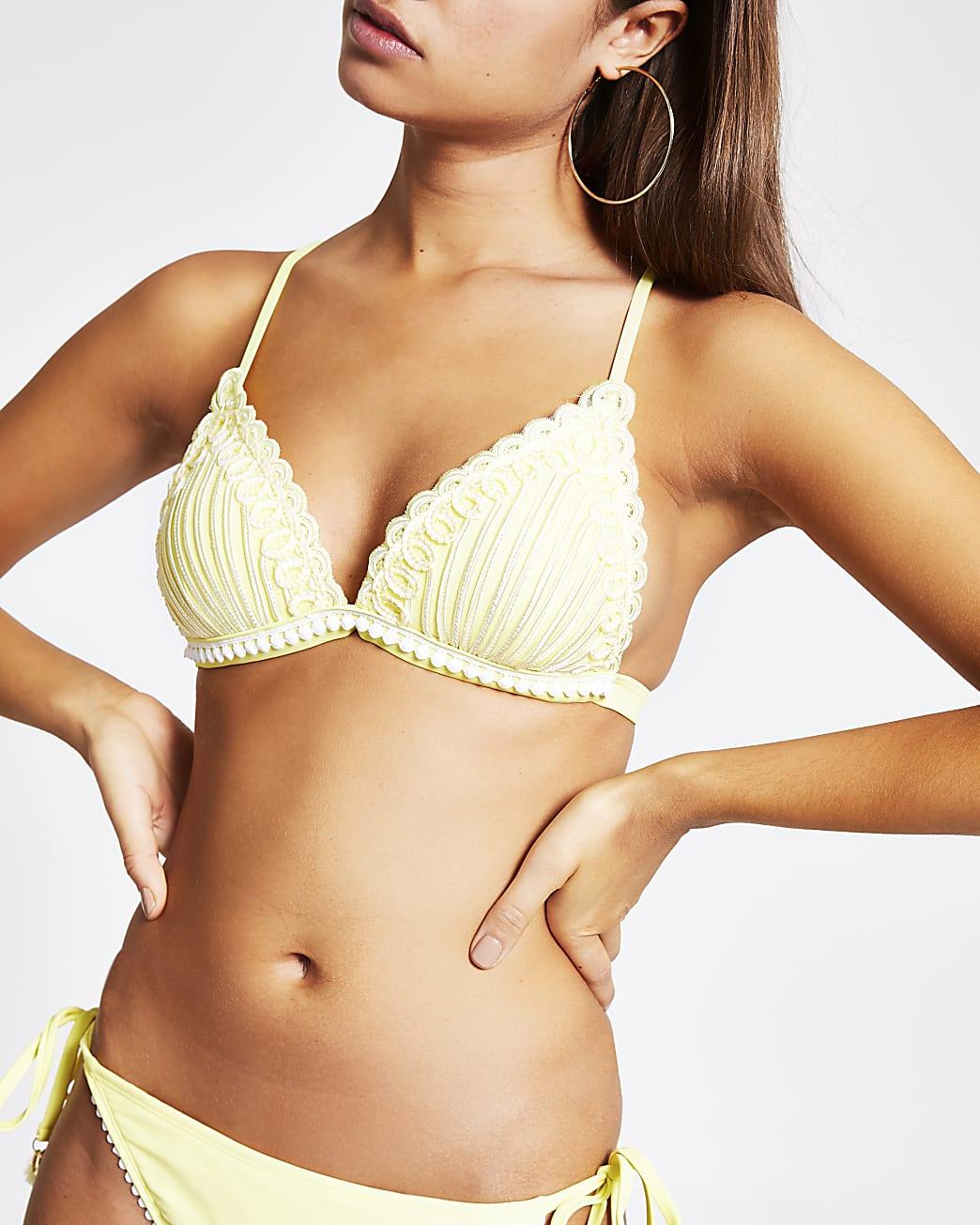 Yellow embroidered triangle bikini top