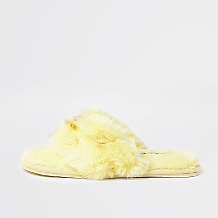 Yellow faux fur bow embellished slipeprs