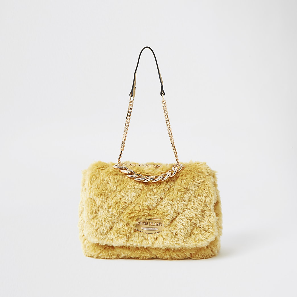 Yellow faux fur quilted shoulder bag