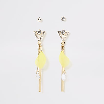 Yellow feather and diamante two pack earrings