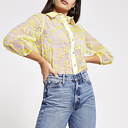 Yellow floral broderie organza shirt