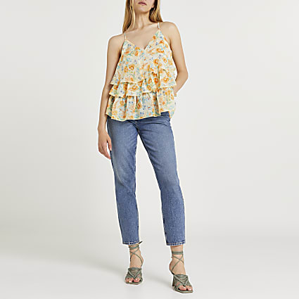 Yellow floral chiffon tiered cami top