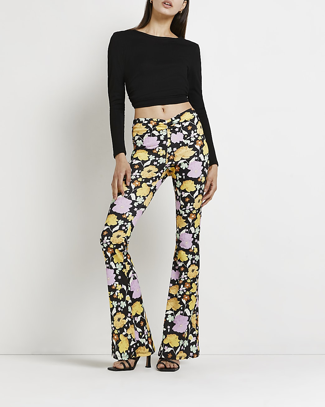 Yellow floral flared trousers