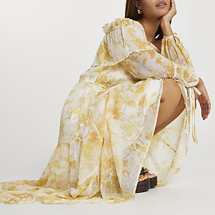 Yellow floral print bardot maxi dress