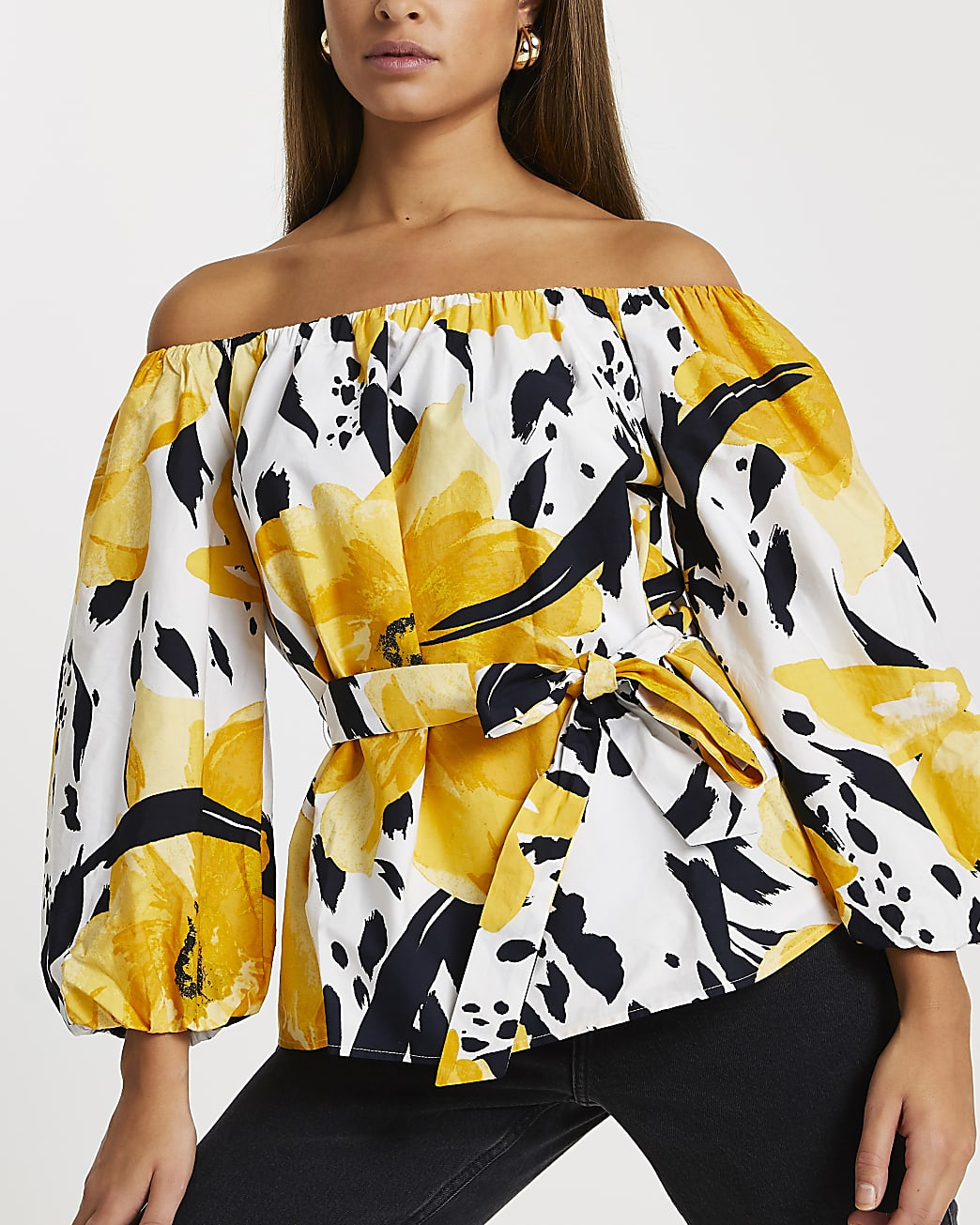 Yellow floral print bardot top