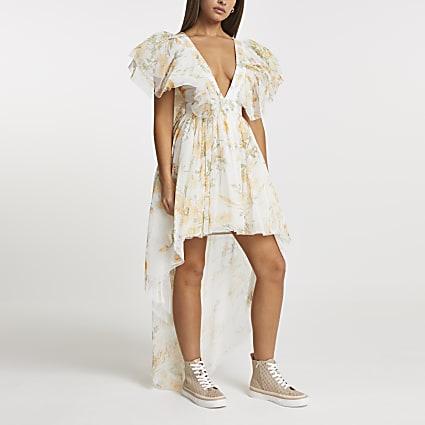 Yellow floral print frill hem mini dress