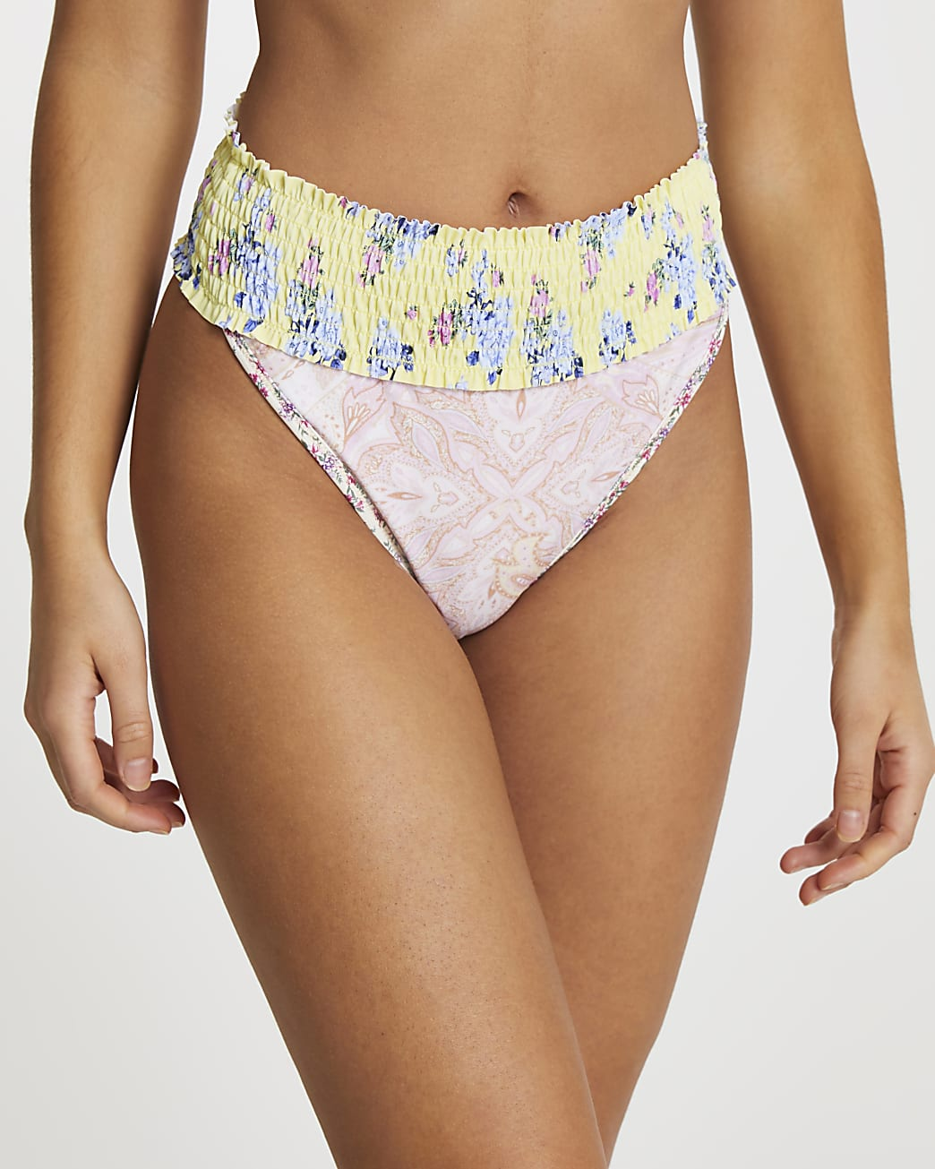 Yellow floral print high waisted bottoms