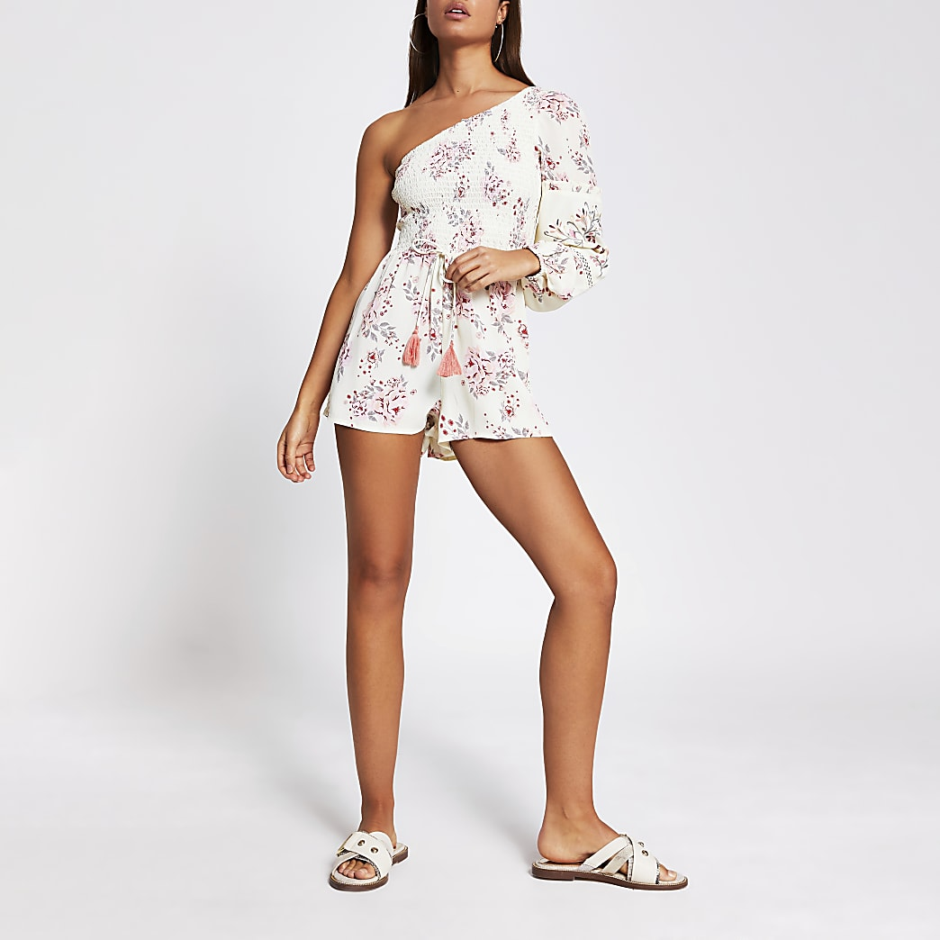 Yellow floral shirred beach playsuit