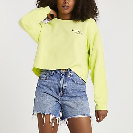 Yellow fluro RI branded cropped sweatshirt
