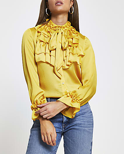 Yellow frill neck long sleeve blouse top