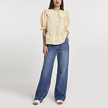 Yellow frill tiered hem collared shirt