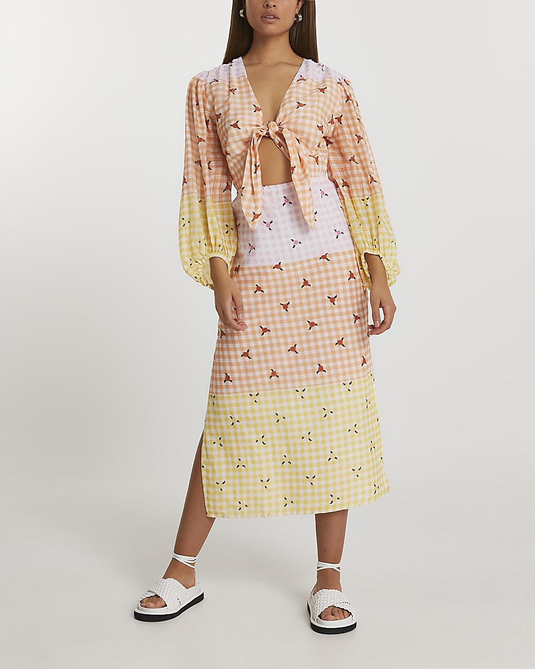 Yellow gingham cut out midi dress