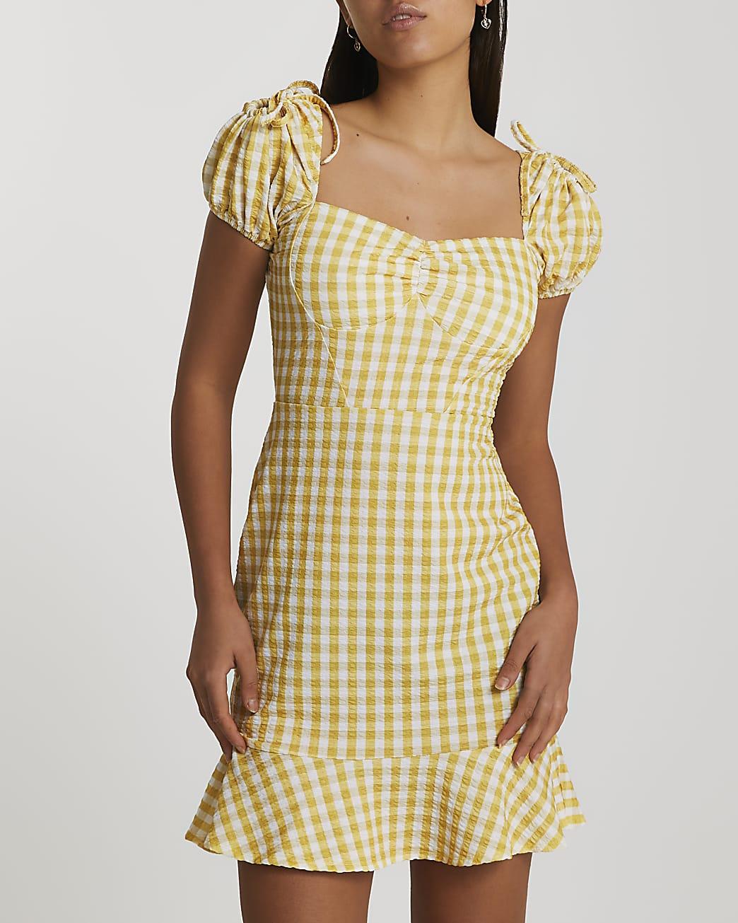 Yellow gingham puff sleeve mini dress