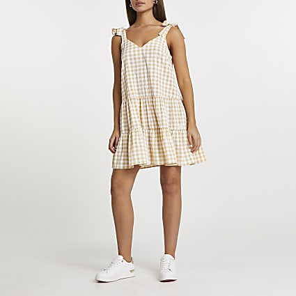 Yellow gingham smock dress