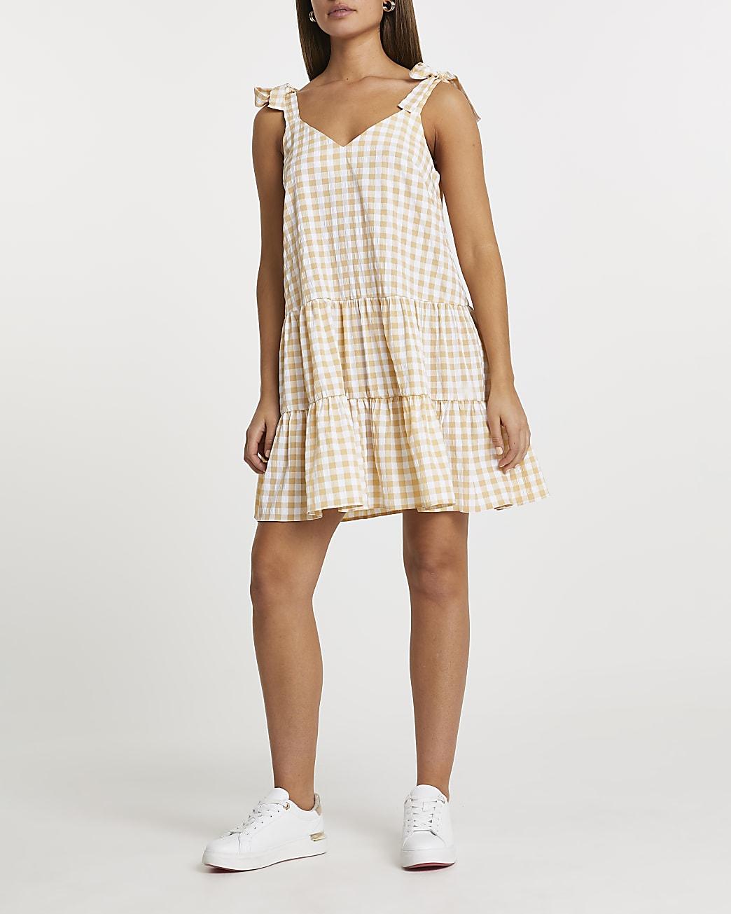 Yellow gingham tiered mini dress