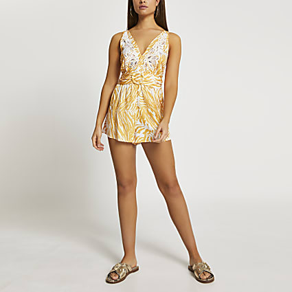 Yellow halter neck belted beach playsuit