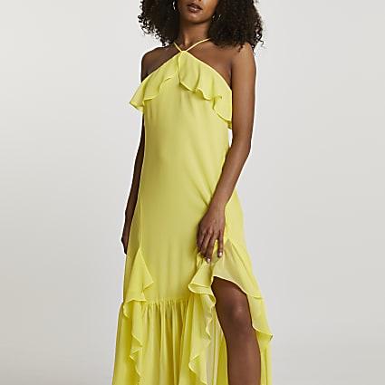 Yellow halter neck frill maxi dress