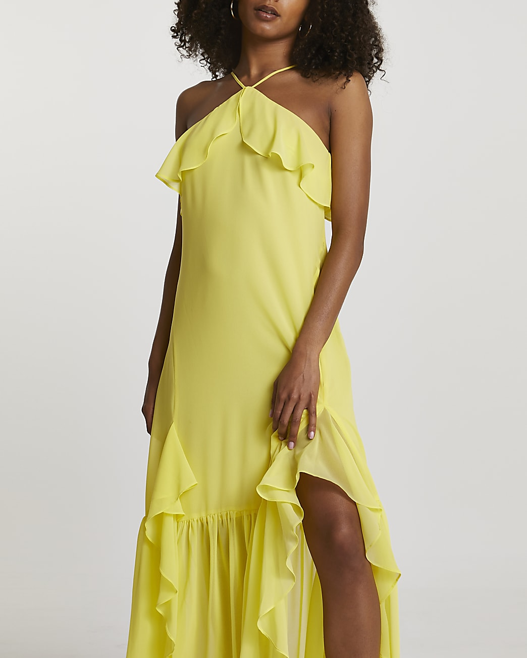Yellow halter neck maxi dress