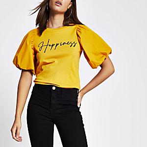 Geel T-shirt met 'Happiness'-tekst en pofmouwen